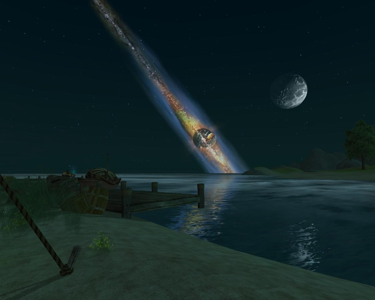 EverQuest II - The dock at the Island of Mara at night