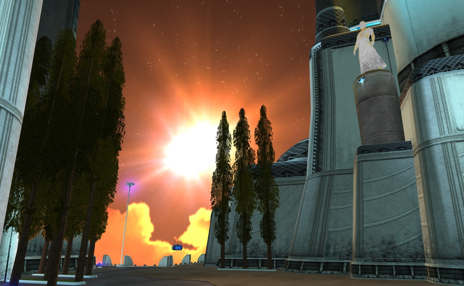 Anarchy Online - Sunset over the Plaza