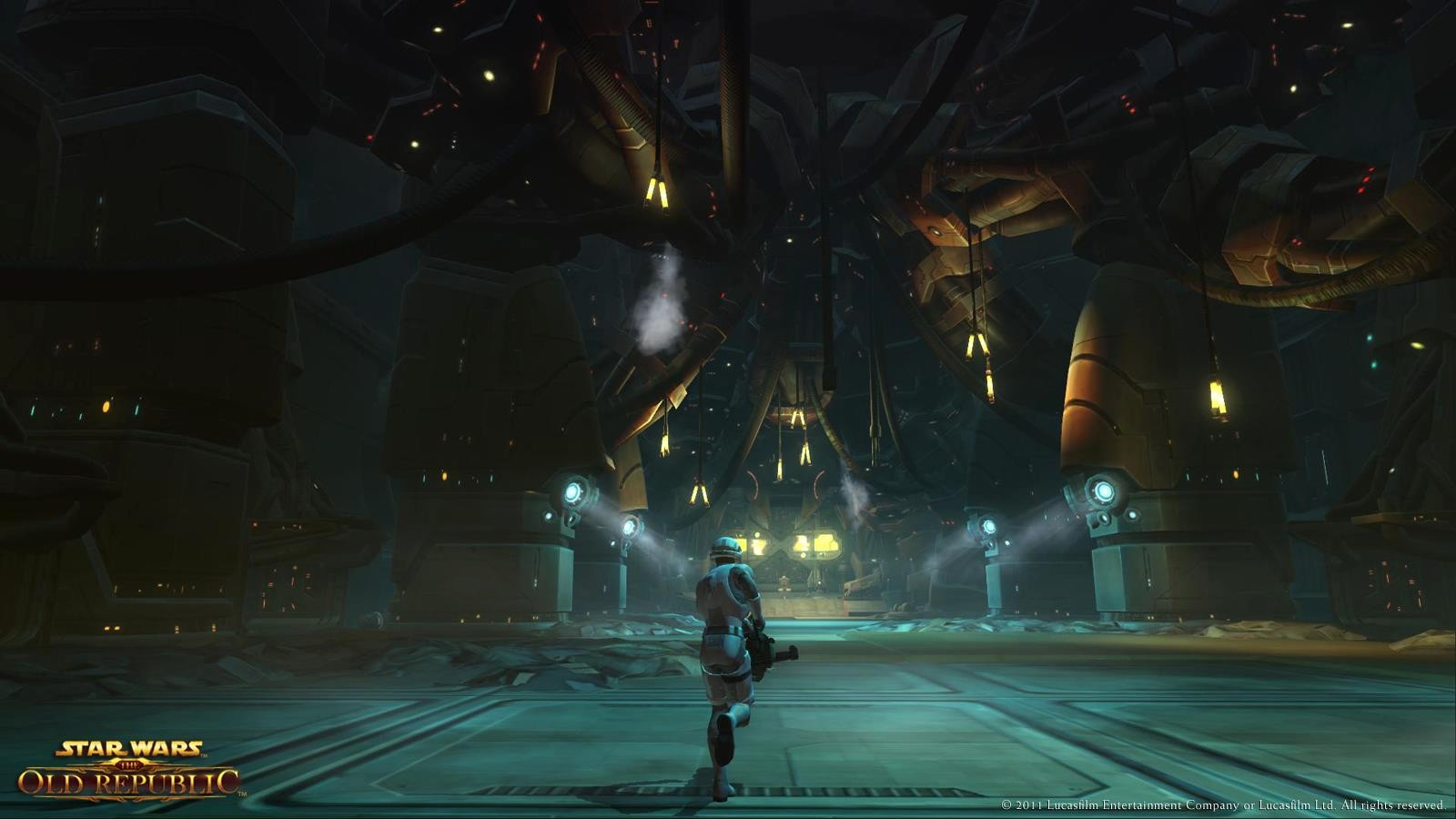 Star Wars: The Old Republic - A lone Trooper storms towards the command center deep inside The Gormak Kings Hall.