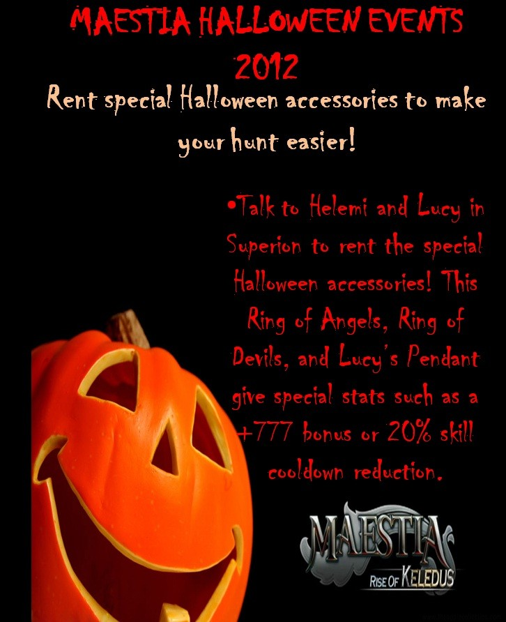 Maestia Halloween 2012: Rent special Halloween accessories to make your hunt easier!