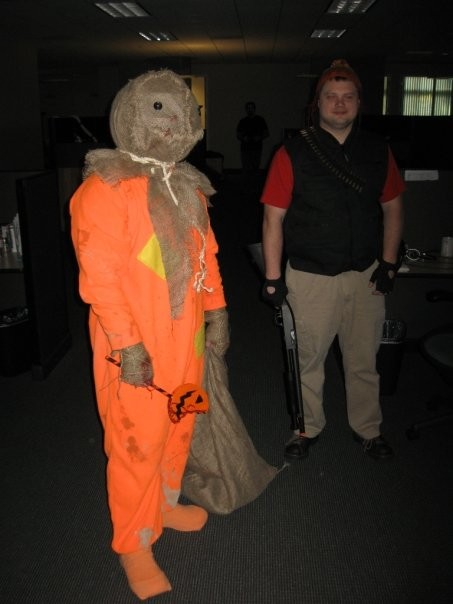 Senior Animator Mike Higgins as the kid from Trick or Treat, and Associate Systems Designer Russell Petersen as The Heavy from TF2.