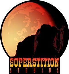 Superstition Studios logo: a dark western theme...