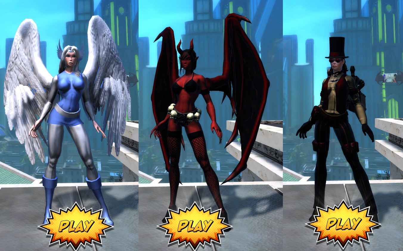 Champions Online - The characters I made during the Blood Moon free weekend of Champions Online