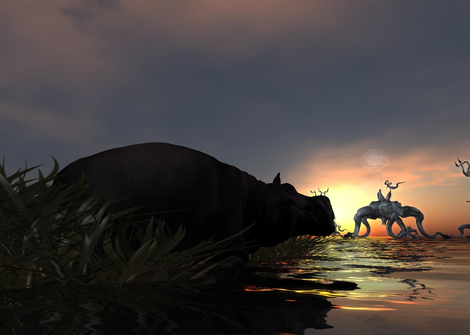 Second Life - Hippo's enjoy sunsets...of course.