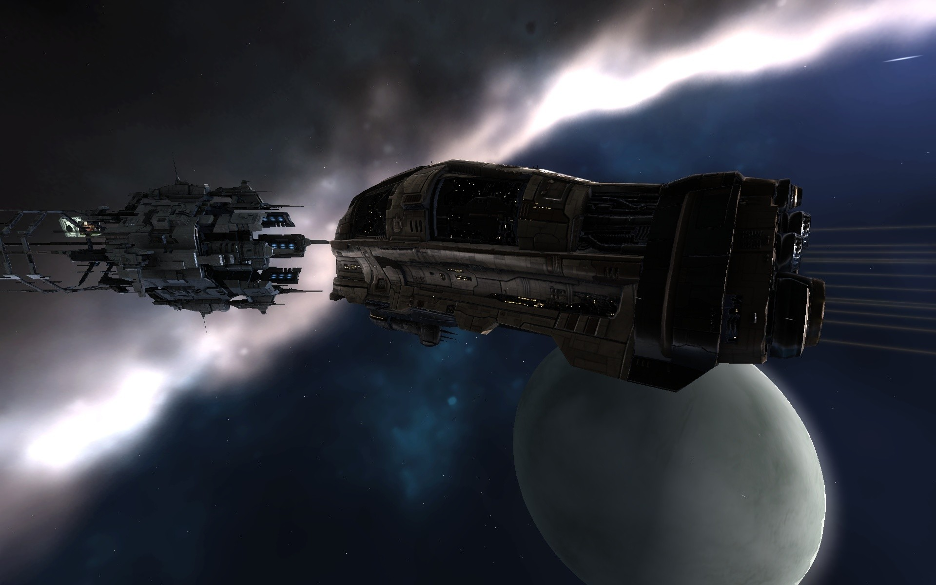 EVE Online - (New premium graphics) Amarr ship heading into a Caldari gate