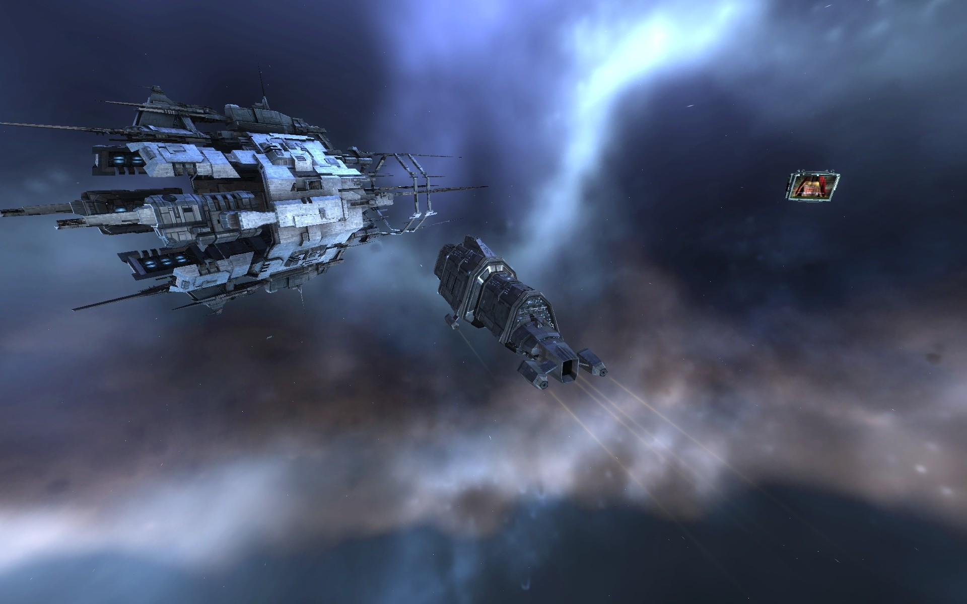 EVE Online - (New premium graphics) My Badger Mk2 heading through a Caldari Stargate