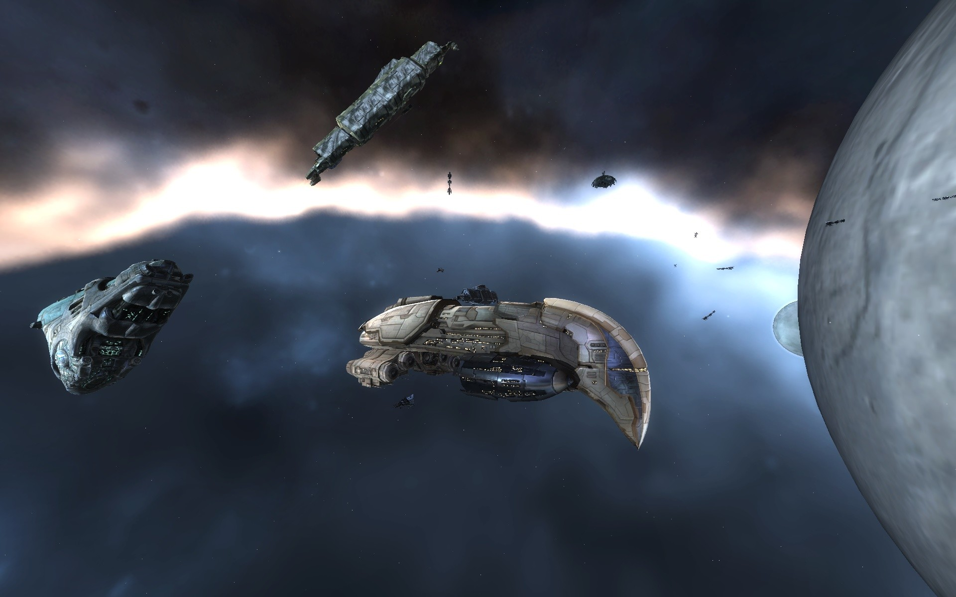 EVE Online - (New premium graphics) Amarr Ship, Gallente Ship, and what looks like a Blockade Runner Caldari ship