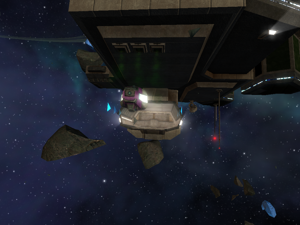 Station entrance with ship entering and waste pouring from station in Vendetta Online