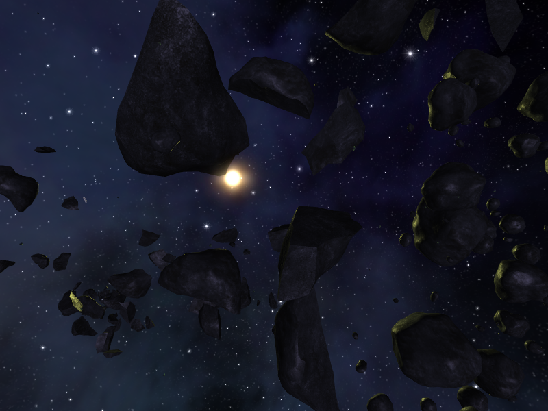 Asteroid Belt lit up in Serco Space in Vendetta Online