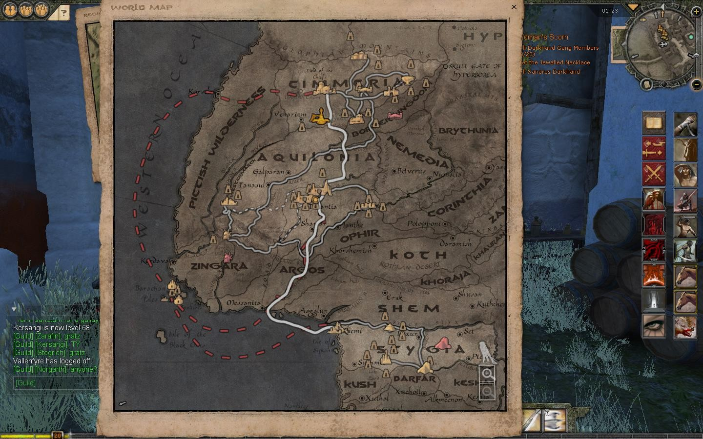 Age of Conan: Unchained - Hyboria World In-Game Map Nov 2009