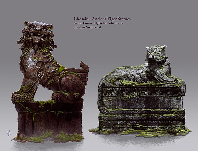 Age of Conan: Unchained - Chosain Tiger Statues Concept