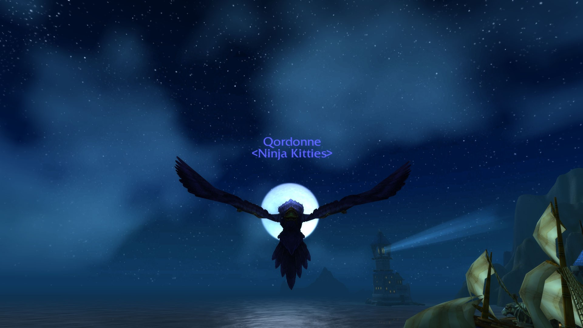 World of Warcraft - Druid Flight Form with Moon