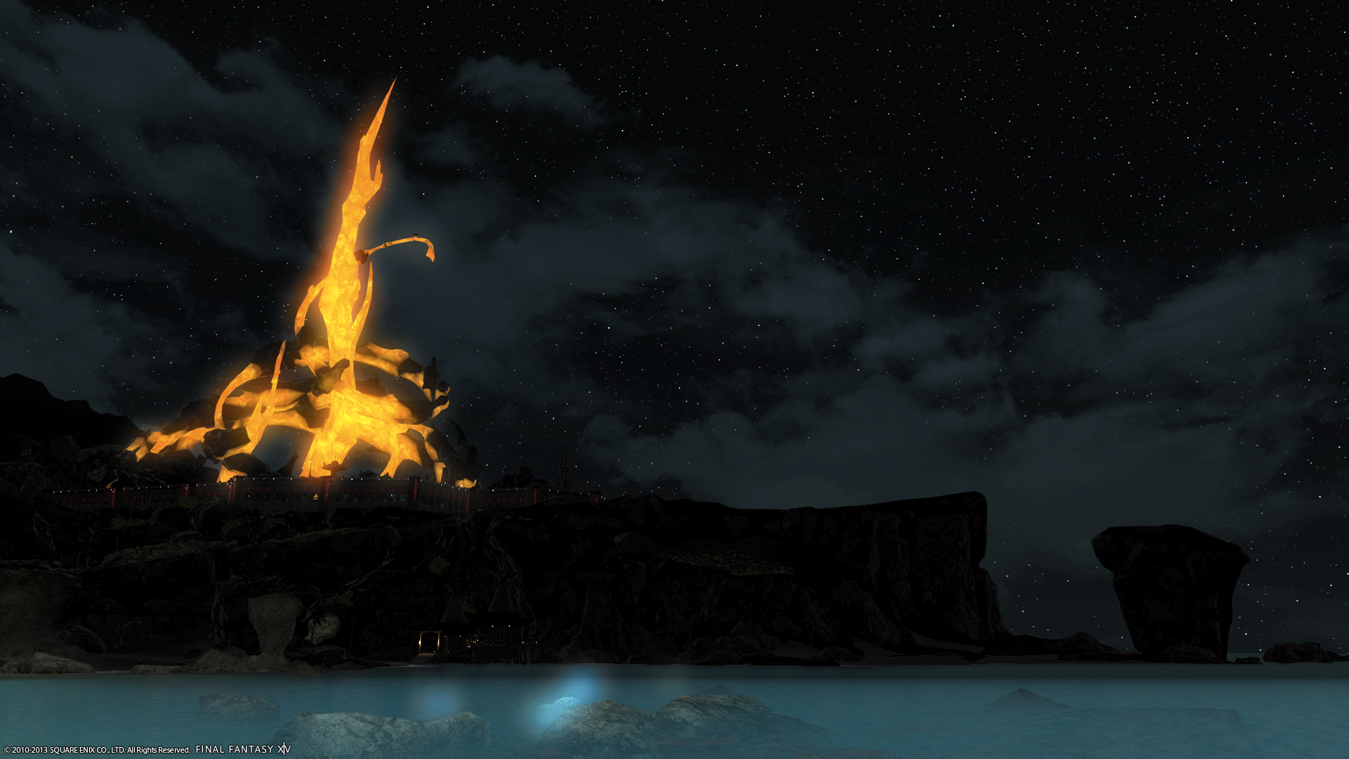 Final Fantasy XIV: A Realm Reborn - One of many Emperial Fortresses in the distance