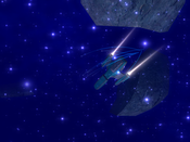 Vendetta Online - Trident launches missiles at hive in a foggy ion storm