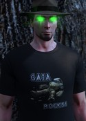 "William Morgan a.k.a. Johnny Taliesin, with glowing green eyes and ""Gaia Rocks"" t-shirt from TSW anniversary event"