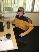 Lead Level Designer Joe Mullenix, as Geordi La Forge... of sorts.