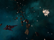 Capital Ship and asteroid belt in Vendetta Online