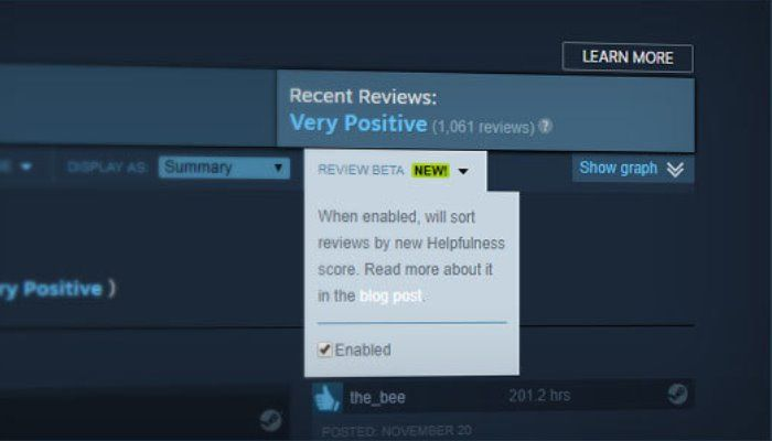 Steam tweaks its review system to combat spam