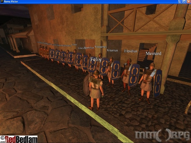 Real players (Roman soldiers) standing on guard.