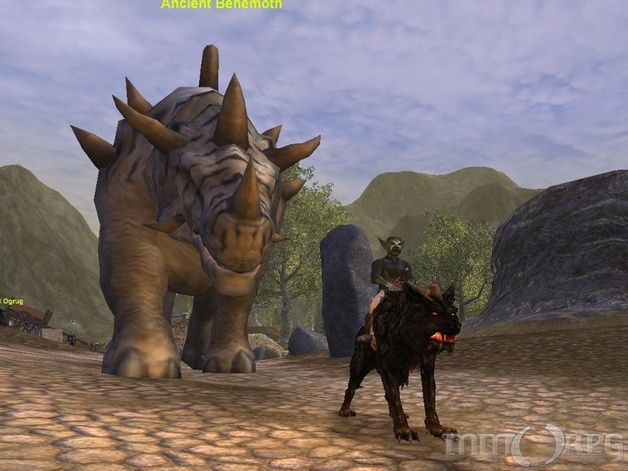 Level 8 Goblin Shaman. Hound of Ghalnn temporary quest mount, Ancient Behemoth about to crush me from behind. :D
