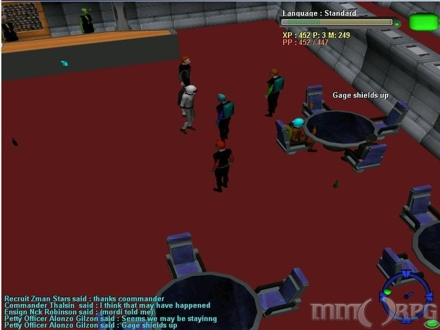 Crew of U.A.S. Bridger and U.A.S. Gage celebrating in the bar at Starbase Beta after defeating a Klinshyan warship. There was almost a bar fight :P