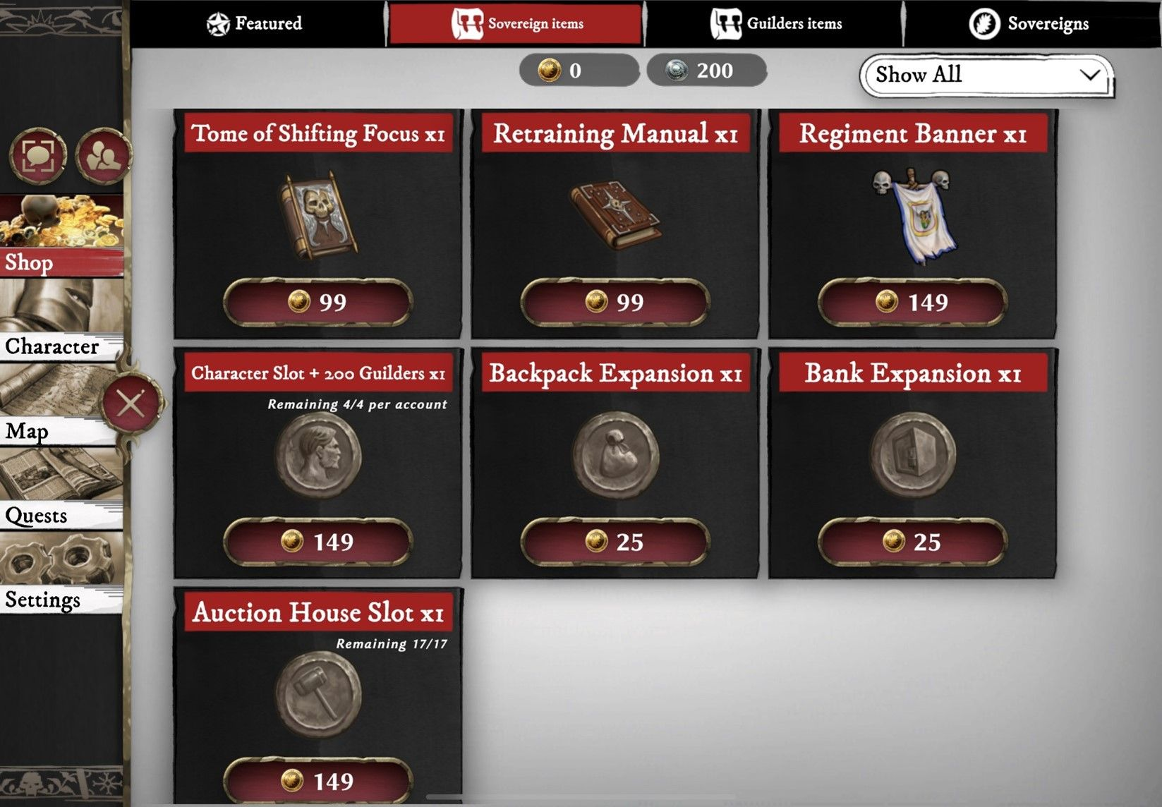Warhammer Odyssey Cash Shop