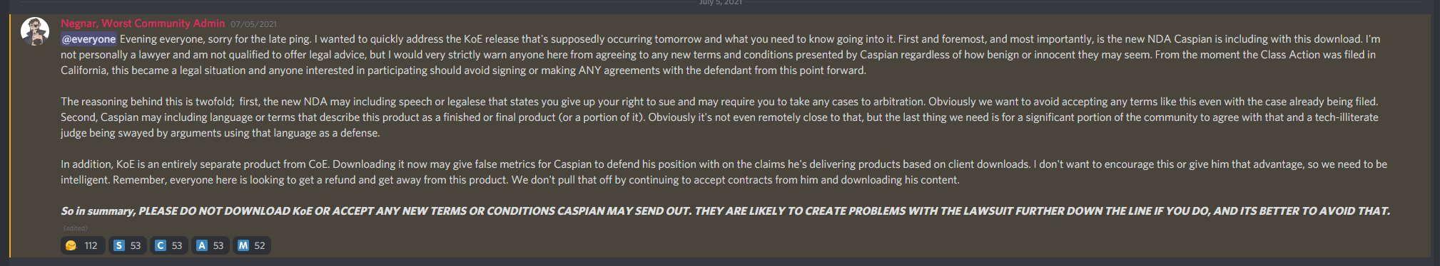 CoE Class Action Lawsuit Discord