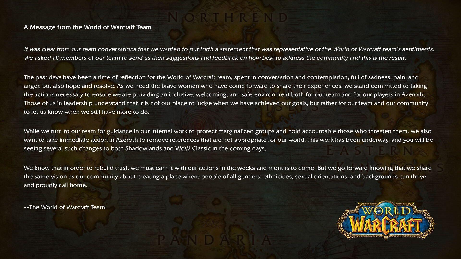 World of Warcraft Statement