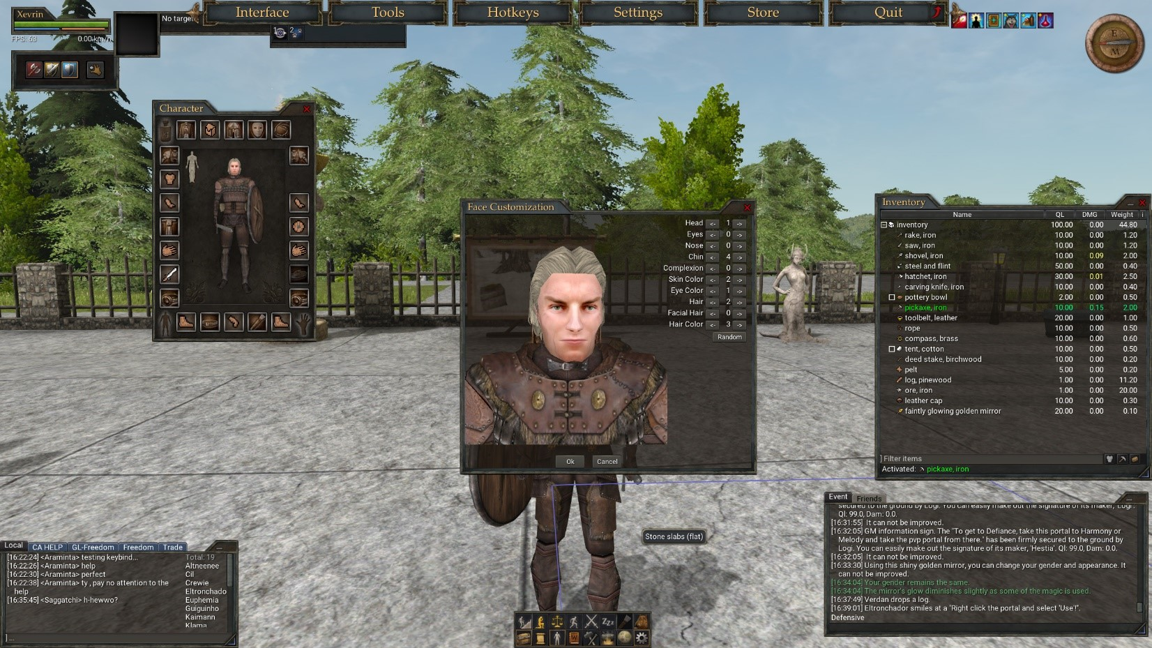 wurm online player characer
