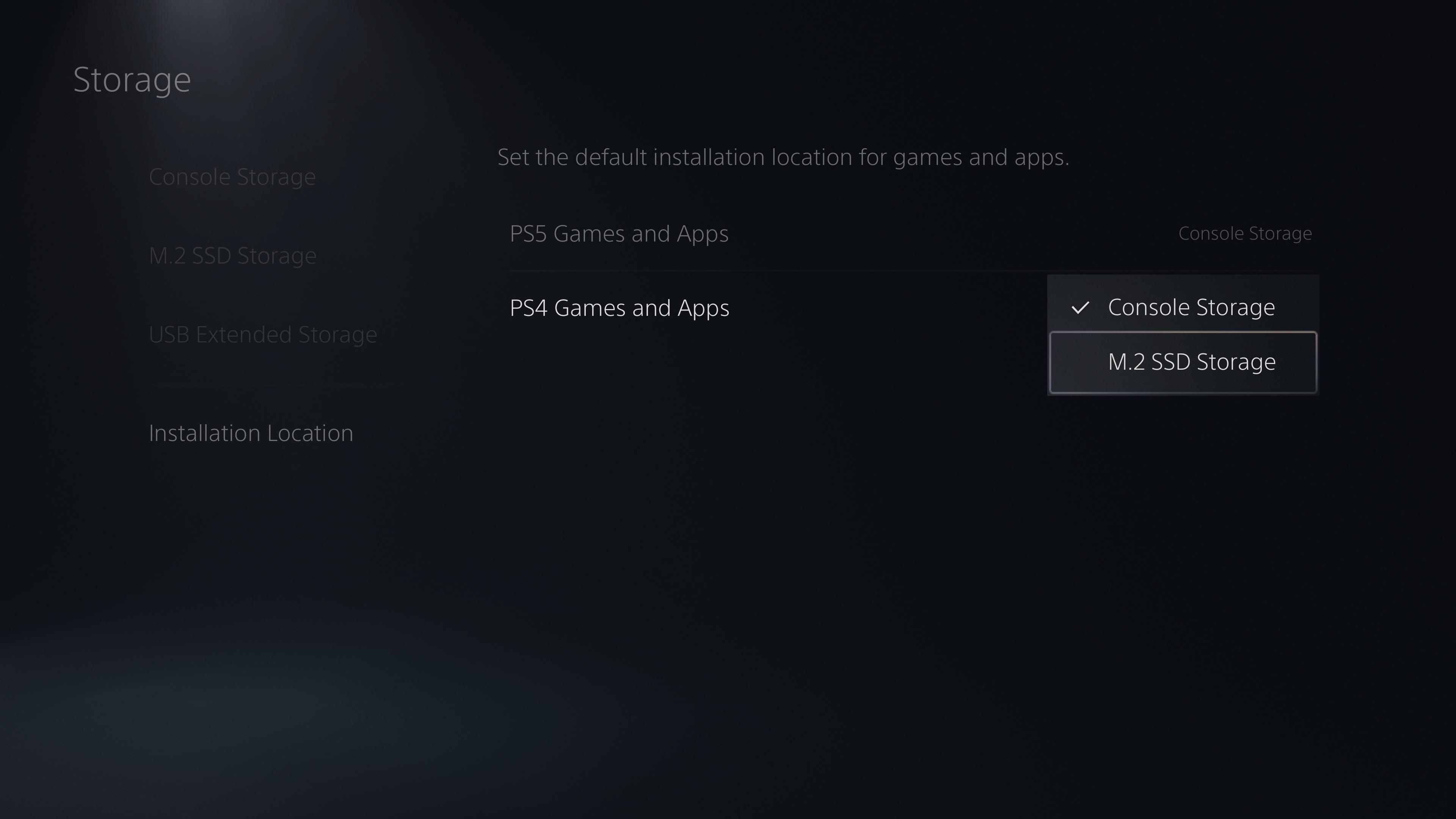 PS5 default drive