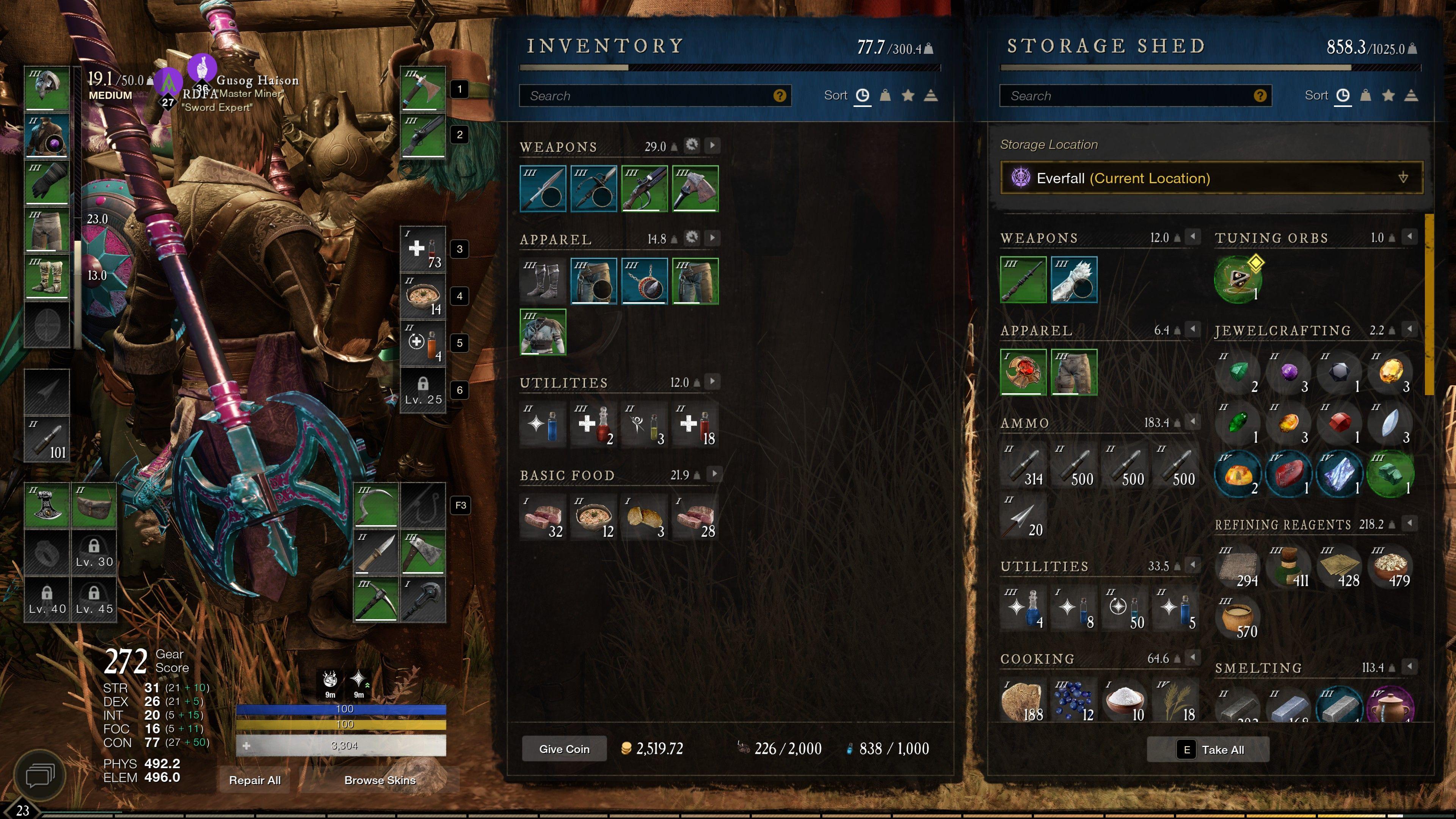 new world inventory