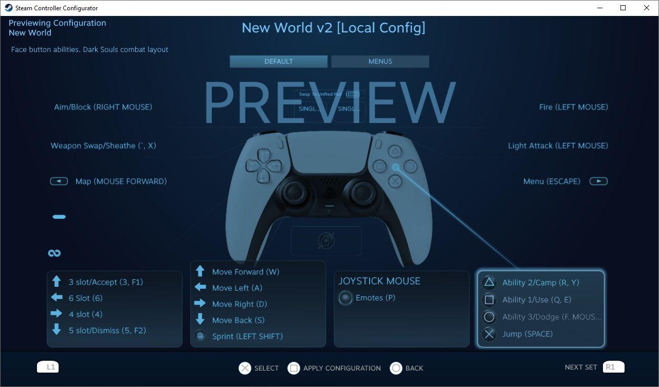 new world steam controller