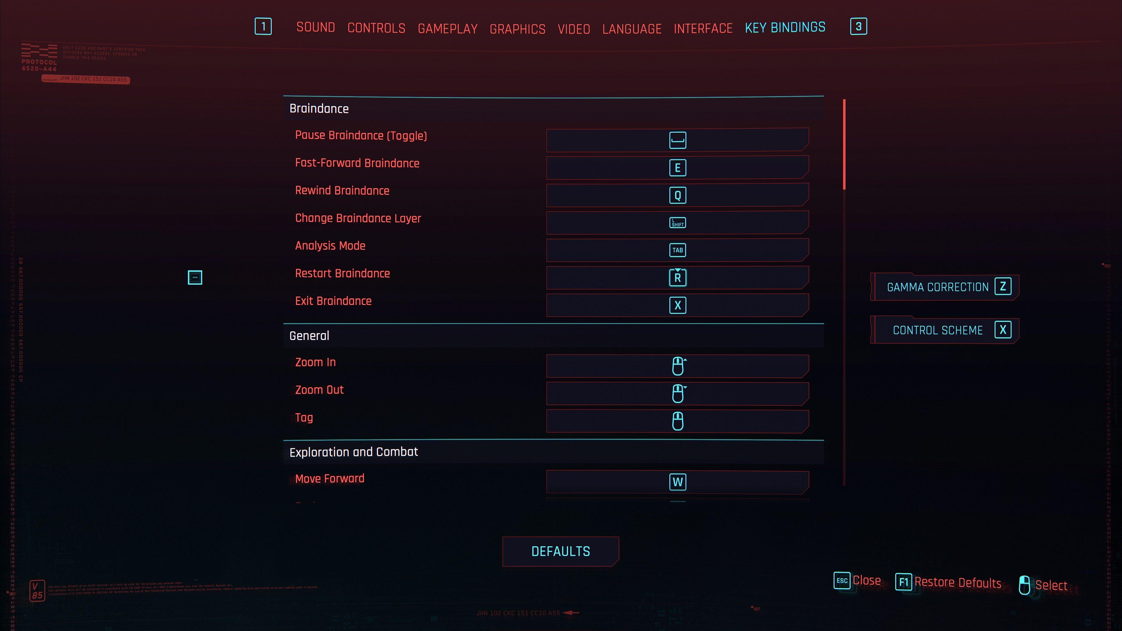 cyberpunk 2077 key binds