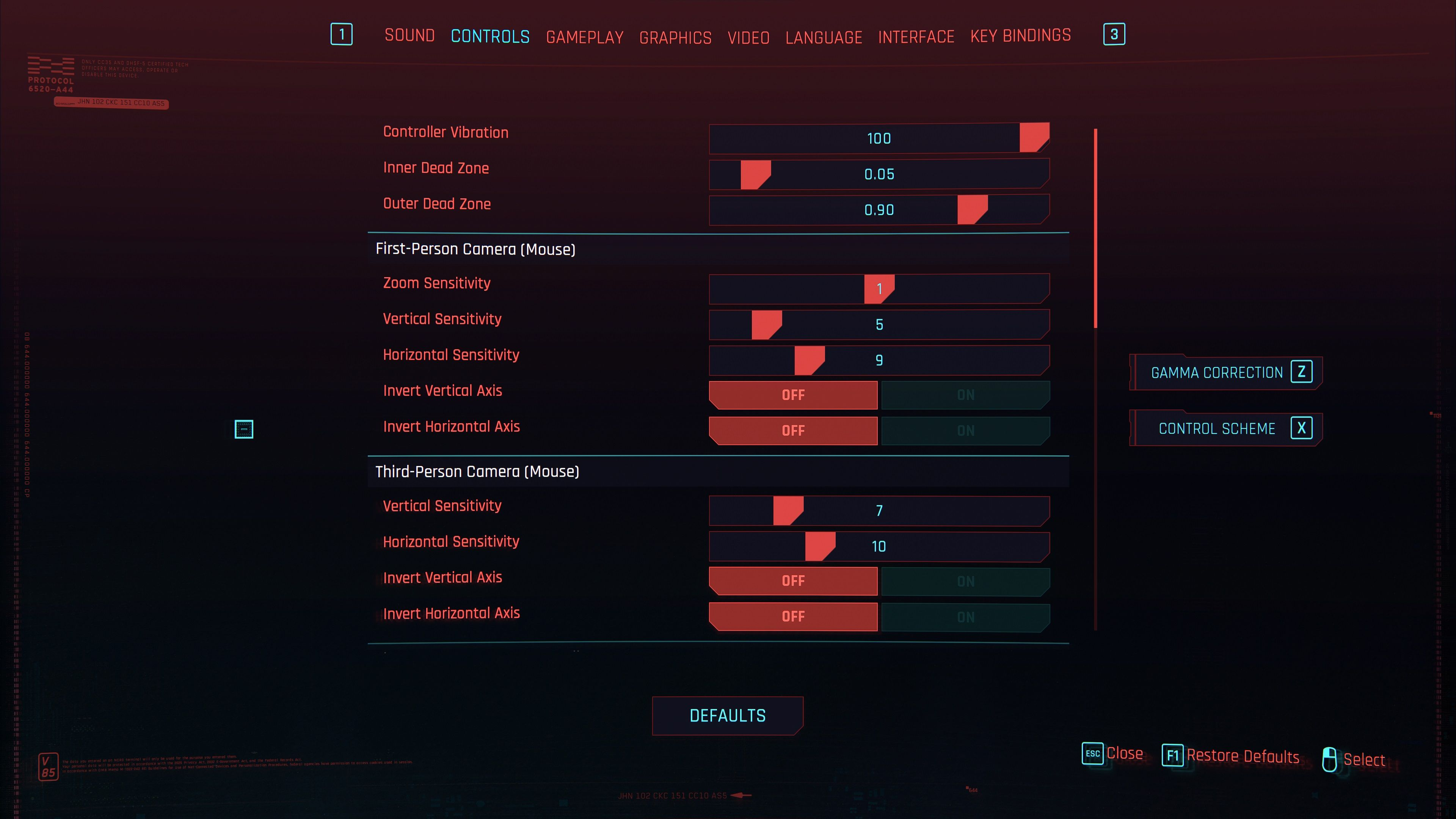 cyberpunk 2077 mouse settings