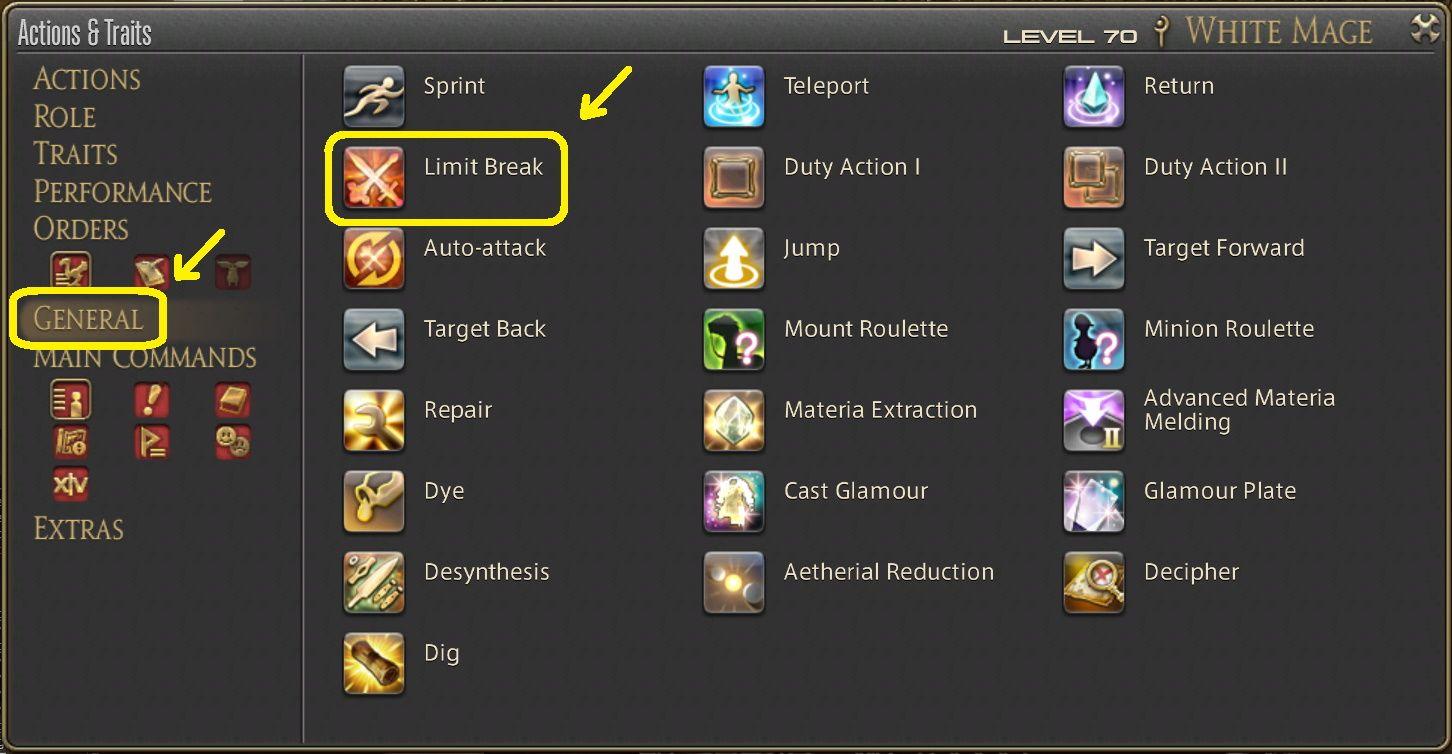 Limit Break Final Fantasy XIV Menu