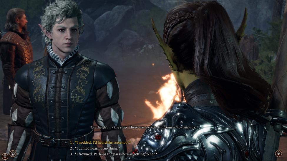 Astarion talking to an NPC