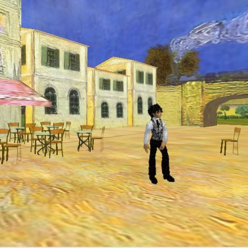 IMVU Character impiosed into the Van Gough World on AW (yes that is an actual 3D world).