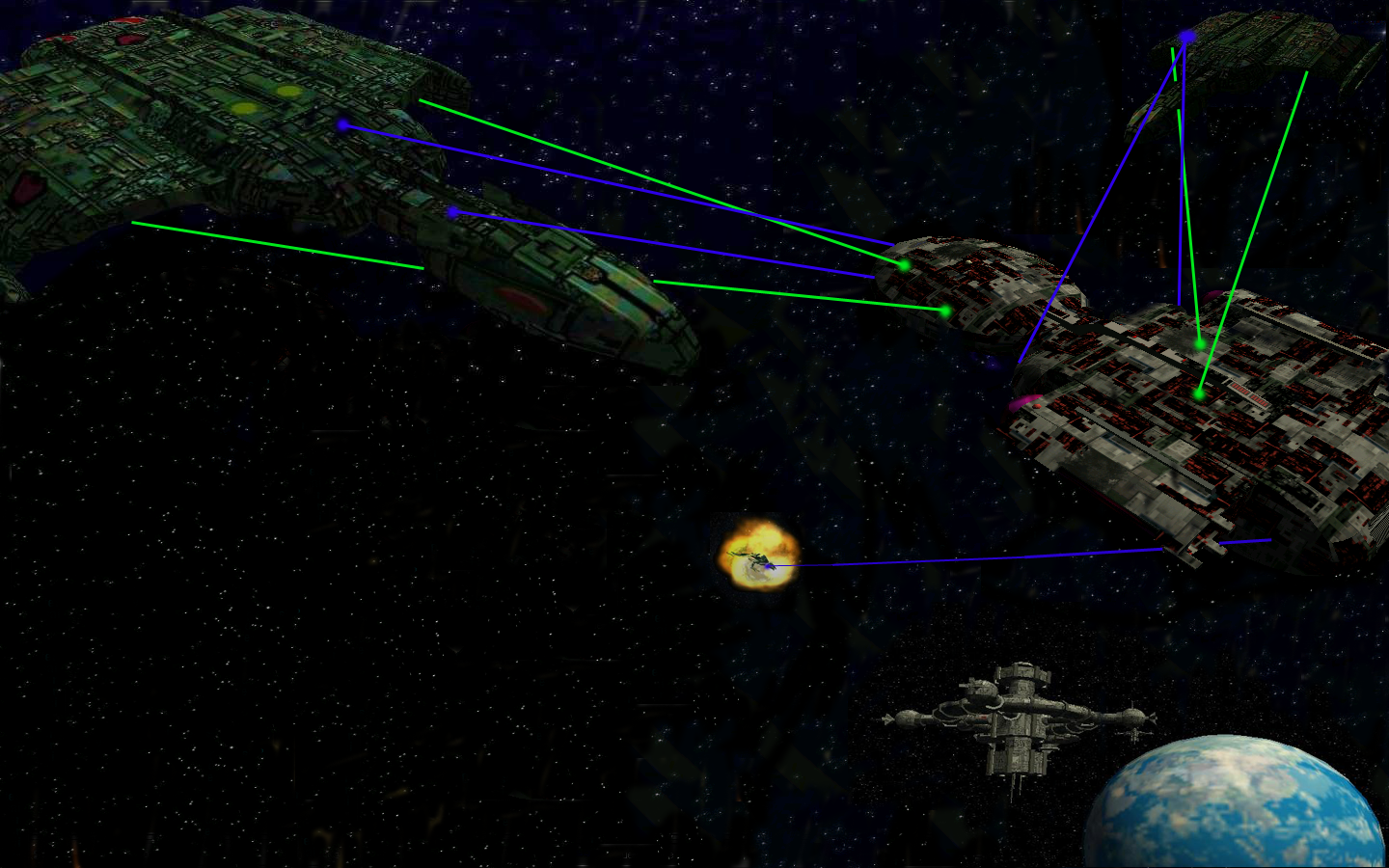 StarQuest Online - A Manning getting torn to bits by two Deathwings. Plaser beams were photoshoped in, they are to fast to take a picture of in-game.