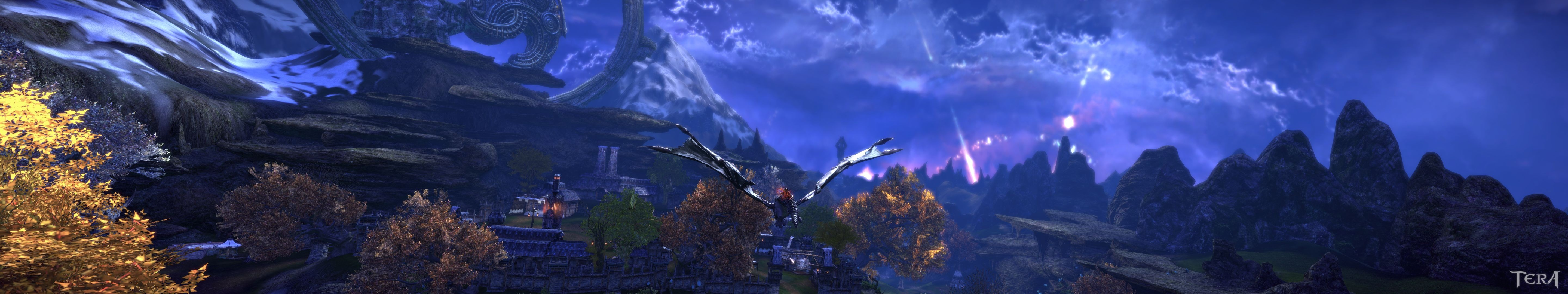 TERA - Flying into some new scenery. 3 monitors required to view at full resolution.