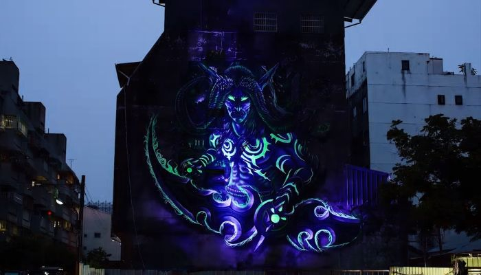 Illidan Street Art From Creation to Glow-in-the-Dark Beauty - World of Warcraft - MMORPG.com
