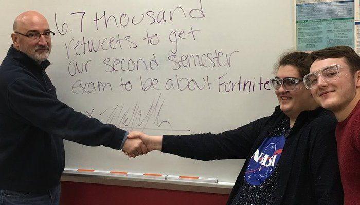 Teacher Challenges Students to Get 6,700 Retweets for Fortnite Final Exam - Fortnite News