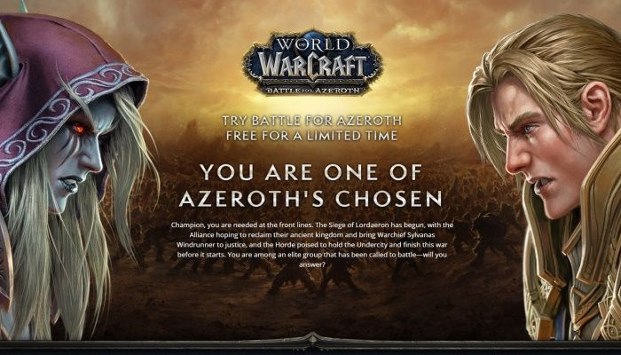 Select Inactive World of Warcraft Accounts Are Invited to a 3-Day Battle for Azeroth Trial