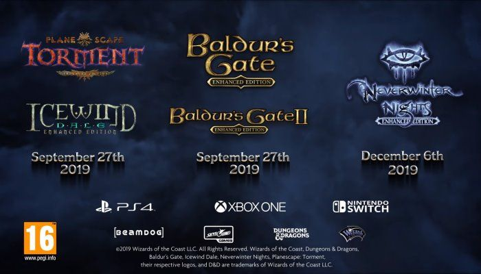 Baldur's Gate, Neverwinter Nights & Planescape: Torment EE Versions Coming to Consoles
