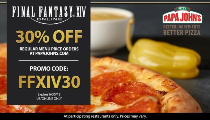 Final Fantasy XIV Pizza Fans in the US Can Get 30% Off Papa John's Pies