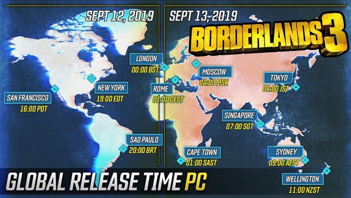 Borderlands 3 Launch Times Announced