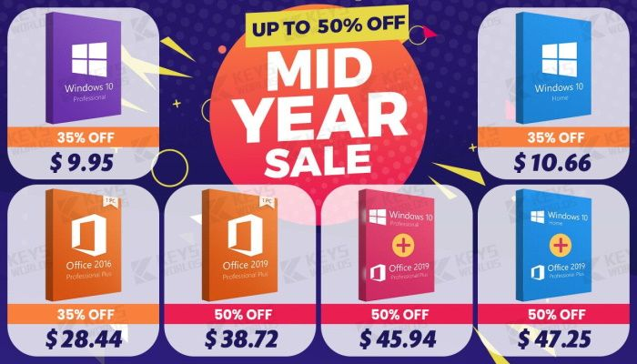 MID-YEAR Madness hits Keysworlds: Up to 50% OFF for Microsoft Product , Windows 10 (SPONSORED)
