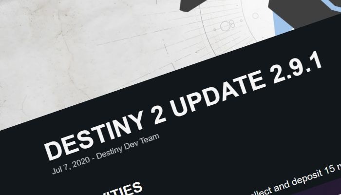 Destiny 2 Receives Patch 2.9.1, Receives Multiple Fixes