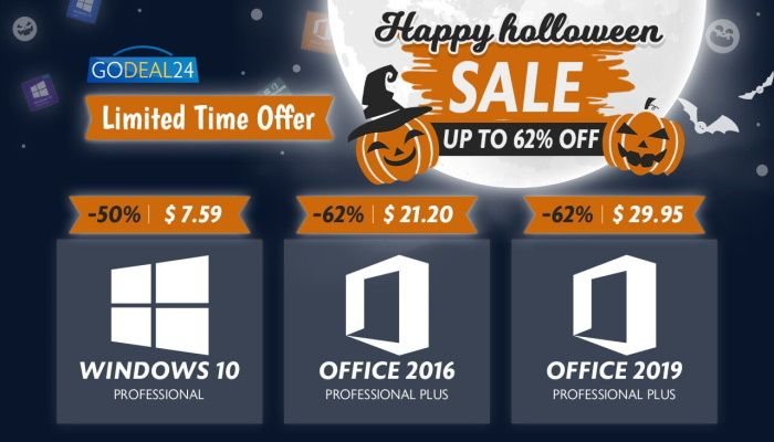 Preventa de Halloween de Godeal24.com: Ofertas para Windows 10 Pro, Office y más (PATROCINADO)