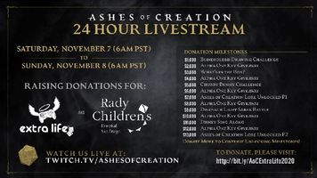 Ashes of Creation Announces Extra Life Live Stream On November 7